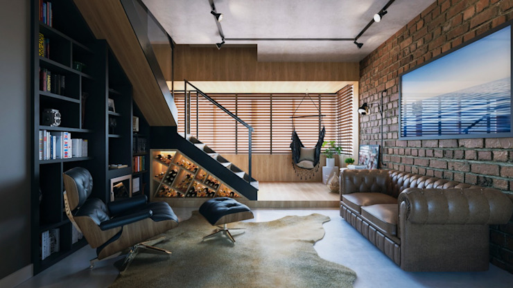 Industrial style living room by Entreponto Arquitetura Industrial