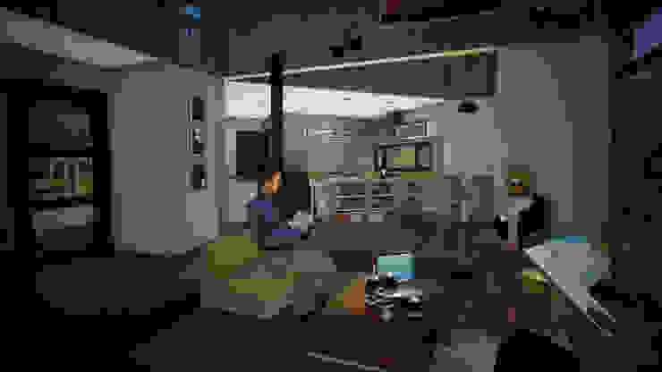 Vista Interior Living Comedor y Cocina Comedores de estilo clásico de homify Clásico Madera Acabado en madera