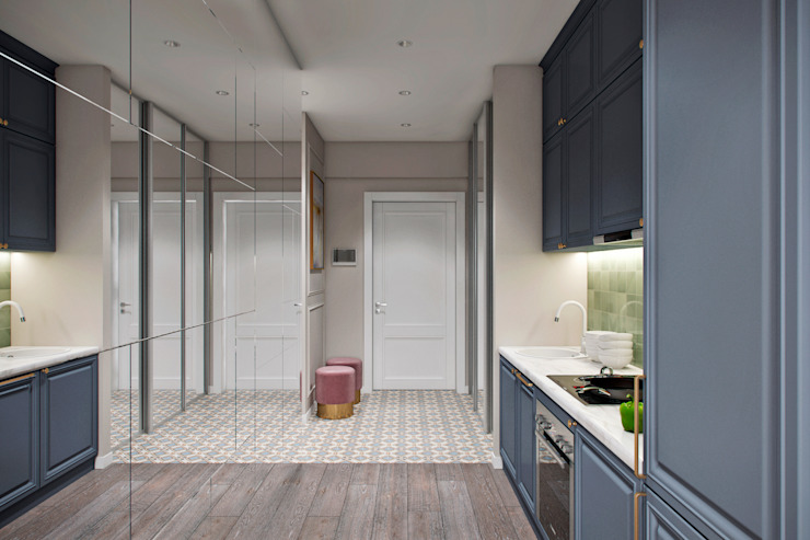 Апартаменты 40 кв.м., в стиле эклектика ЖК I*m. Коридор, прихожая и лестница в эклектичном стиле от Студия архитектуры и дизайна Дарьи Ельниковой Эклектичный