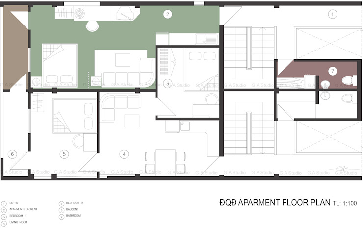 Floor plan bởi G.A Studio Bắc Âu