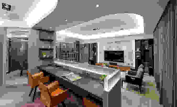 開放式的書房與客廳串連 沐築空間設計 Modern Living Room