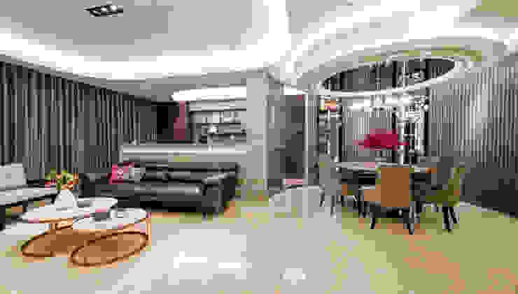 客廳.餐廳.書房三個不同的空間各自獨立卻又同時存在 现代客厅設計點子、靈感 & 圖片 根據 沐築空間設計 現代風