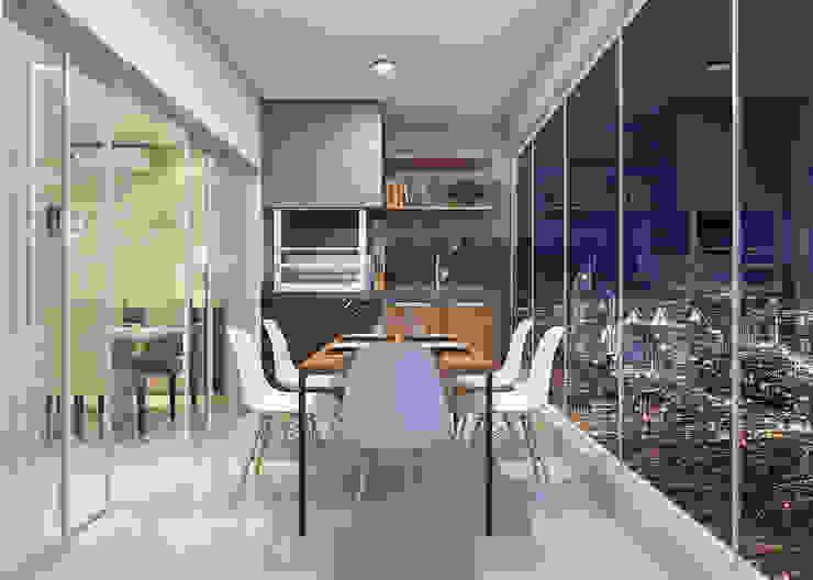 Estúdio j2G| Arquitetura & Engenharia Moderner Balkon, Veranda & Terrasse Keramik Grau