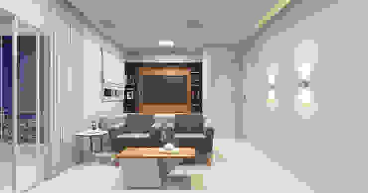 Estúdio j2G| Arquitetura & Engenharia Moderner Multimedia-Raum Holz Holznachbildung