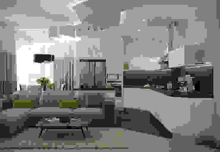 """Дизайн кухни-гостиной в стиле модернизм в квартире в ЖК """"7 континент"""", г.Краснодар Студия интерьерного дизайна happy.design Кухня в стиле модерн"""