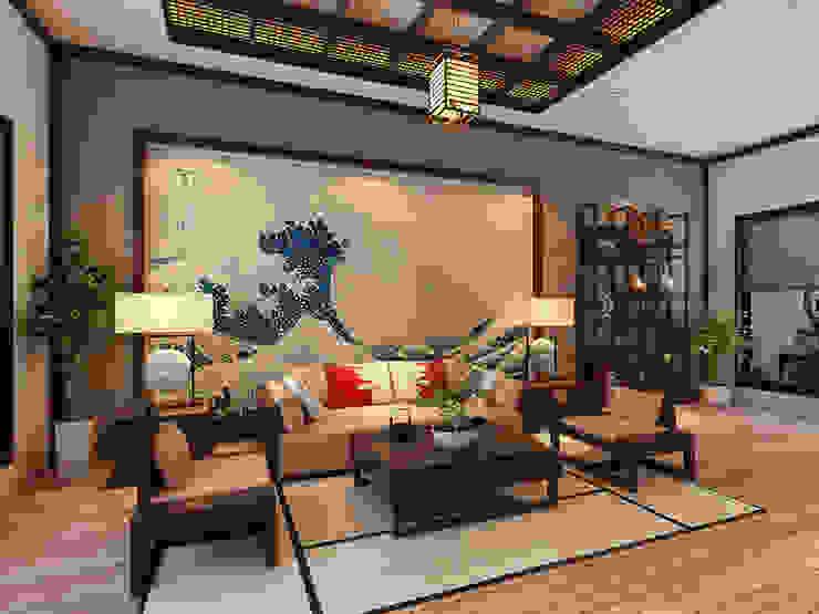 Phòng khách hiện đại theo phong cách Nhật Phòng khách phong cách châu Á bởi Công ty Thiết Kế Xây Dựng Song Phát Châu Á