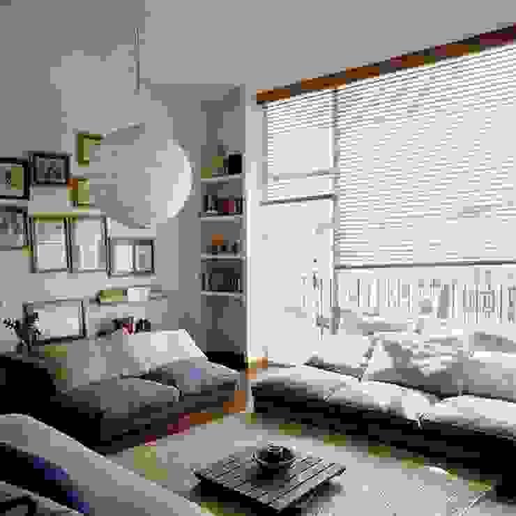 Phối hợp các nội thất một cách hài hòa giúp không gian thêm mới lạ Phòng khách phong cách châu Á bởi Công ty Thiết Kế Xây Dựng Song Phát Châu Á