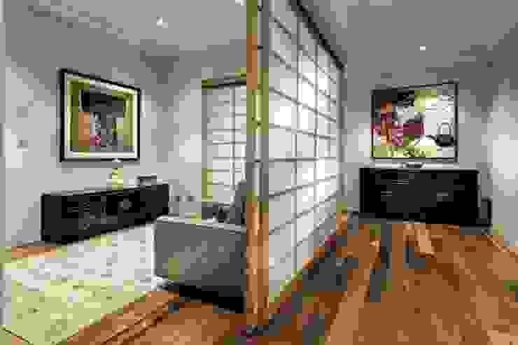 Phân chia không gian với cửa kéo Shoji Phòng khách phong cách châu Á bởi Công ty Thiết Kế Xây Dựng Song Phát Châu Á