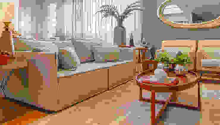 Sofá Retrátil que não parece retrátil e com braços de 8cm/ cada! por Sgabello Interiores Moderno Algodão Vermelho