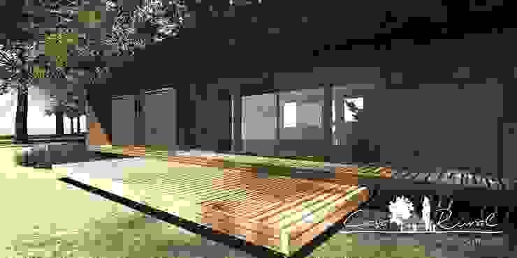 casa rural - Arquitectos en Coyhaique Country style balcony, porch & terrace
