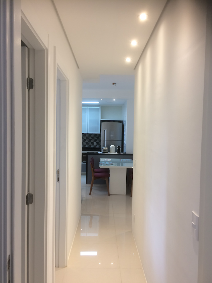 3JP Engenharia Modern Corridor, Hallway and Staircase Bricks White