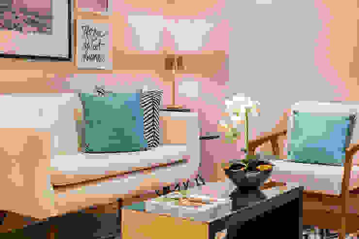 Sala de espera por Juliana Agner Arquitetura e Interiores Moderno Têxtil Ambar/dourado