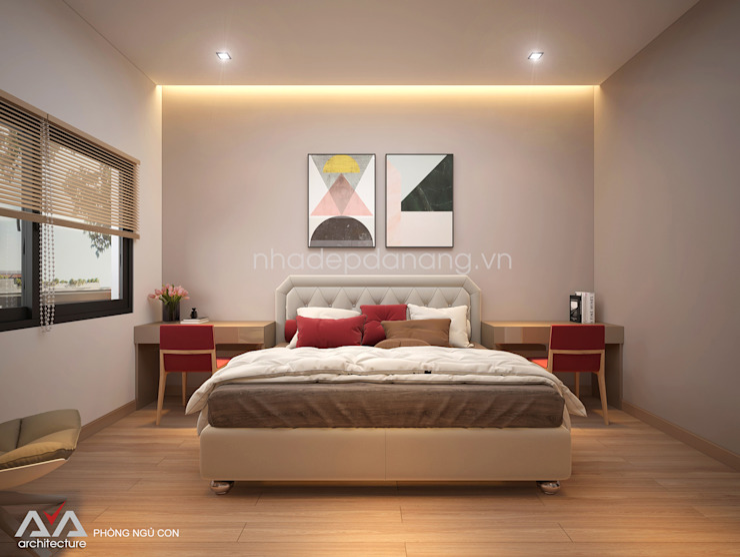 Thiết kế nhà phố đẹp tại Đà Nẵng Phòng ngủ phong cách hiện đại bởi AVA Architects Hiện đại