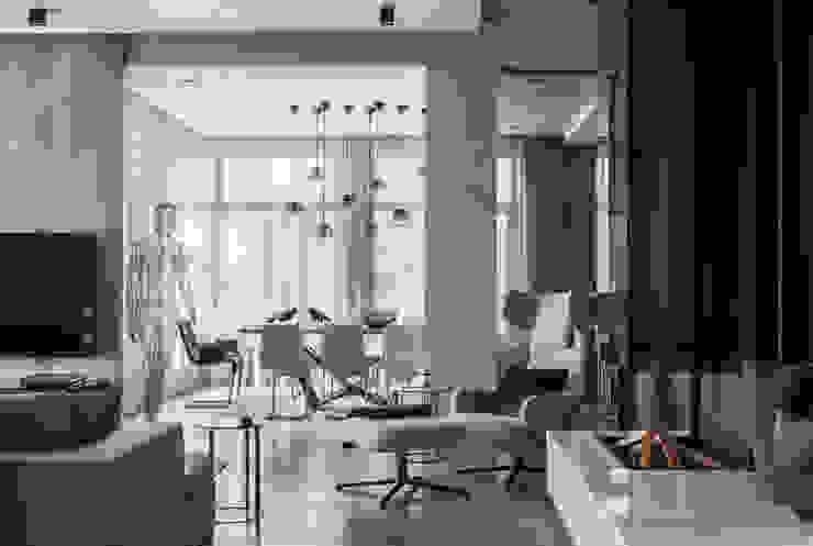Интерьер гостиной-столовой. Гостиные в эклектичном стиле от AMG project Эклектичный