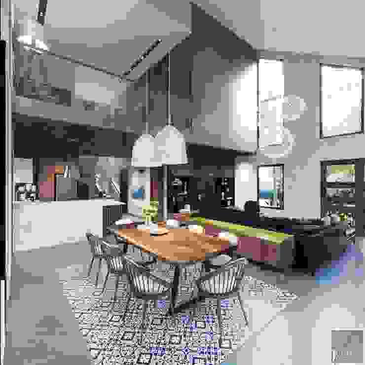 Thiết kế biệt thự hiện đại đẳng cấp với gỗ tự nhiên Phòng ăn phong cách hiện đại bởi ICON INTERIOR Hiện đại