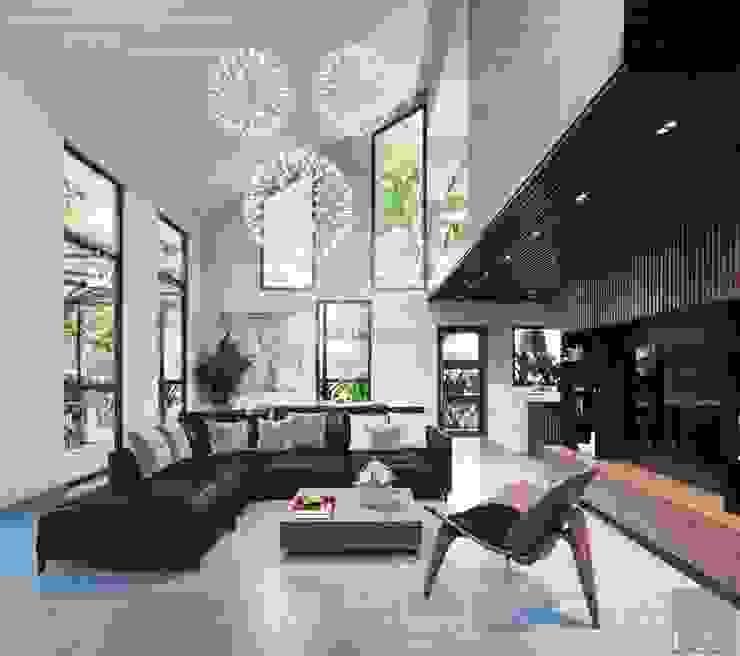 Thiết kế biệt thự hiện đại đẳng cấp với gỗ tự nhiên:  Phòng khách by ICON INTERIOR