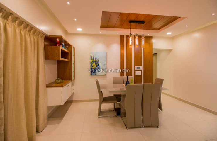 3 bhk complete home interiors in Blue Ridge Township ( Pune) The D'zine Studio Modern dining room