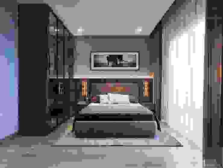 Thiết kế biệt thự hiện đại đẳng cấp với gỗ tự nhiên Phòng ngủ phong cách hiện đại bởi ICON INTERIOR Hiện đại