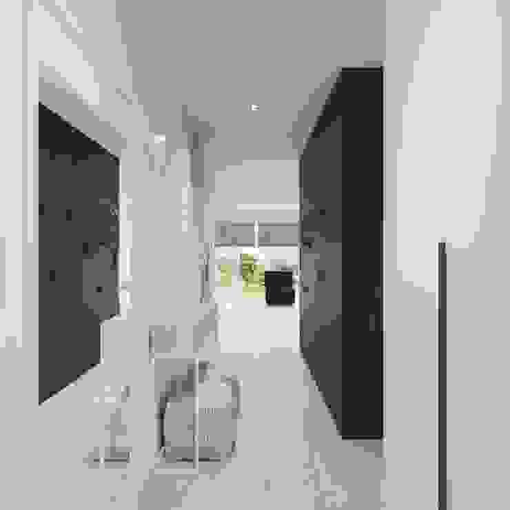White and bright house interior. SARNA ARCHITECTS Interior Design Studio Minimalistyczny korytarz, przedpokój i schody