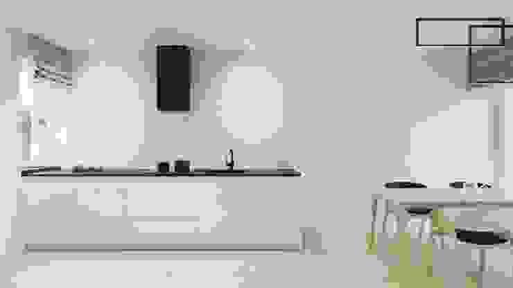 White and bright house interior. SARNA ARCHITECTS Interior Design Studio Minimalistyczna kuchnia