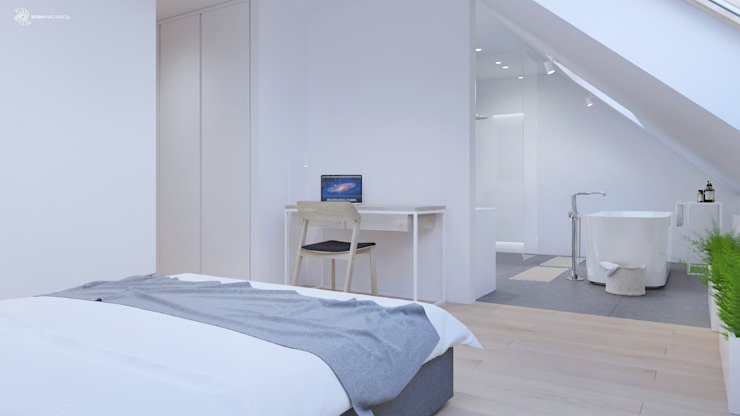 White and bright house interior. SARNA ARCHITECTS Interior Design Studio Minimalistyczna sypialnia