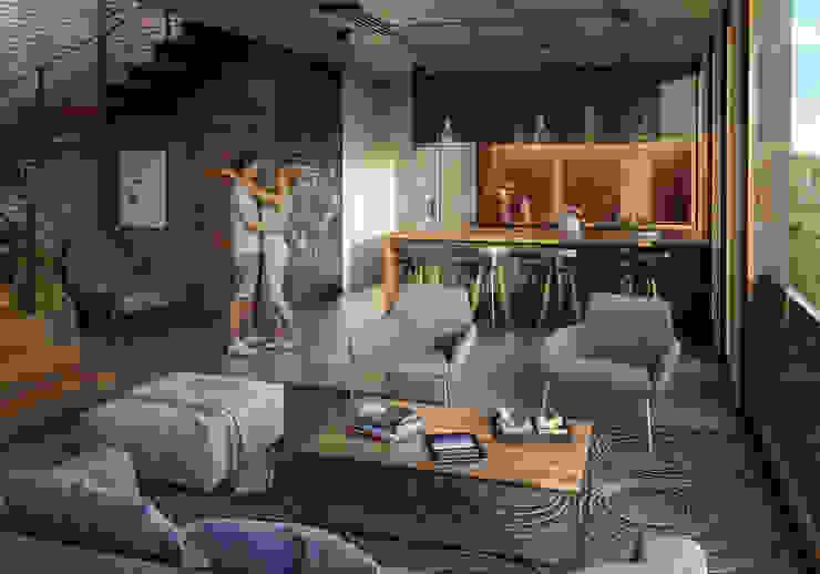 Area social Stuen Arquitectos Vestíbulos, pasillos y escalerasEscaleras Concreto Gris