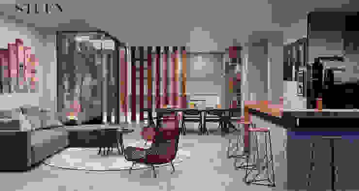 Área social Stuen Arquitectos Salones modernos Madera Gris