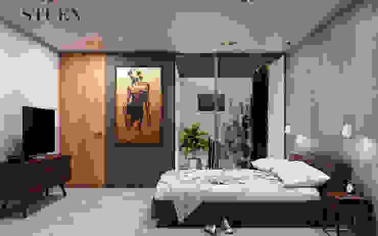 Recamara Stuen Arquitectos Dormitorios modernos Cerámico Gris