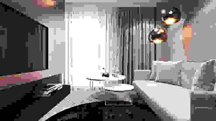 Apartament w Londynie - strefa nocna Nowoczesny pokój multimedialny od Ambience. Interior Design Nowoczesny