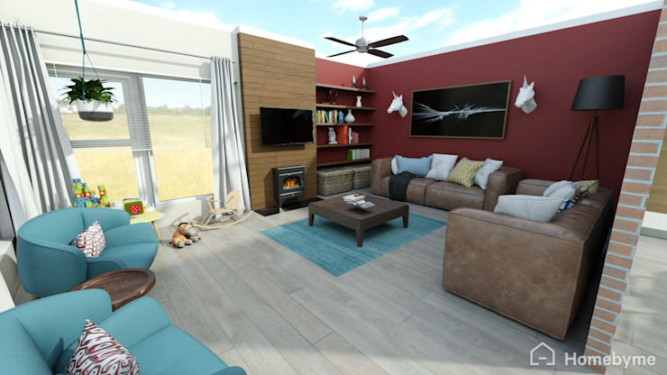 Realistic 3D Design of Living Room by Room 2 Room Design Eclectic Wood Wood effect