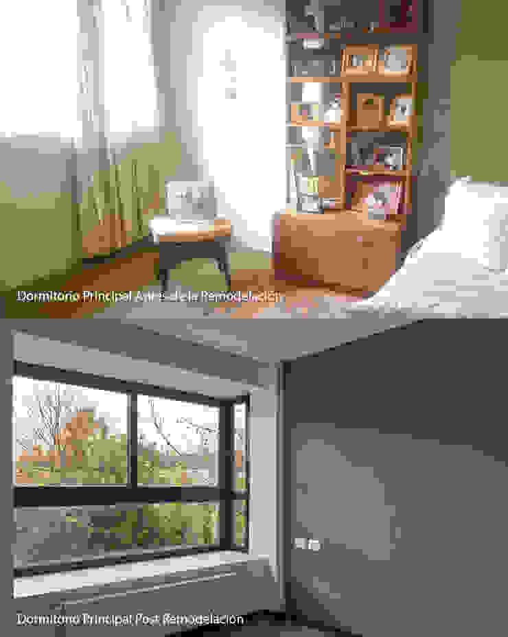 Antes/Después Dormitorio Principal de LEON CAMPINO ARQUITECTURA SPA Moderno