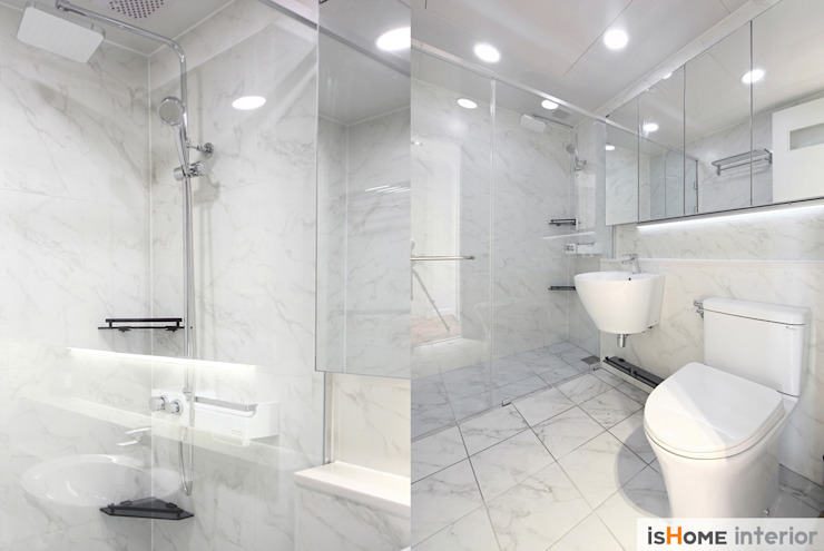 헤링본 마루가 매력적인 44평 송도아파트 모던스타일 욕실 by 이즈홈 모던