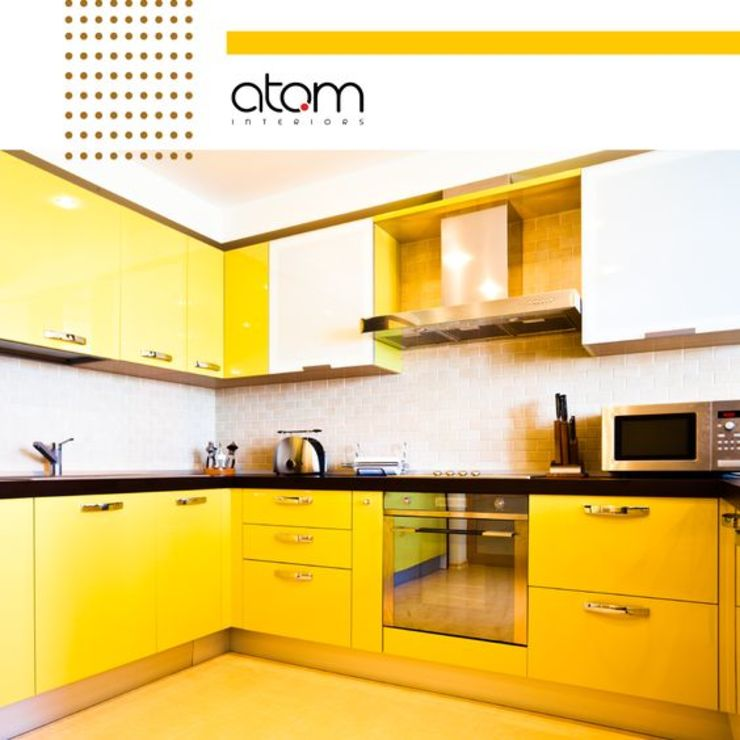 Yellow & Happy Kitchen! by Atom Interiors Tropical