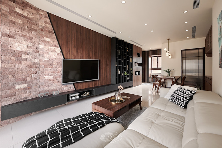 紋理.線條 现代客厅設計點子、靈感 & 圖片 根據 層層室內裝修設計有限公司 現代風