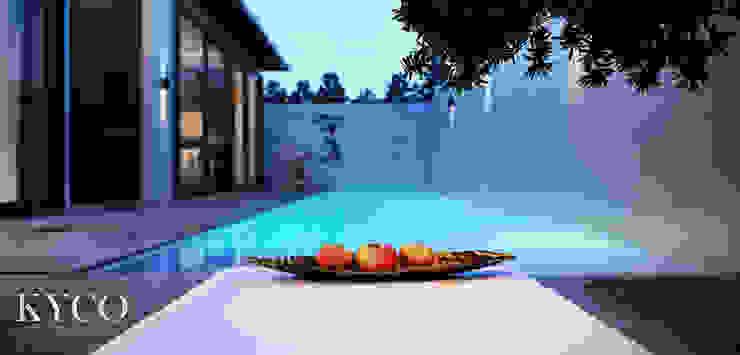 Villa 房泳池區 芮晟設計事務所 庭院泳池 木頭 Blue