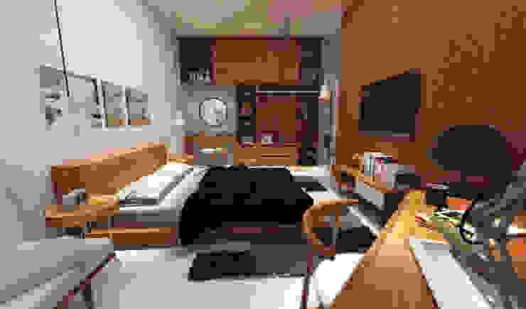 The Kinder House - Pejaten, Jakarta Selatan (Bedroom) Kamar Tidur Gaya Asia Oleh Asta Karya Studio Asia Kayu Wood effect