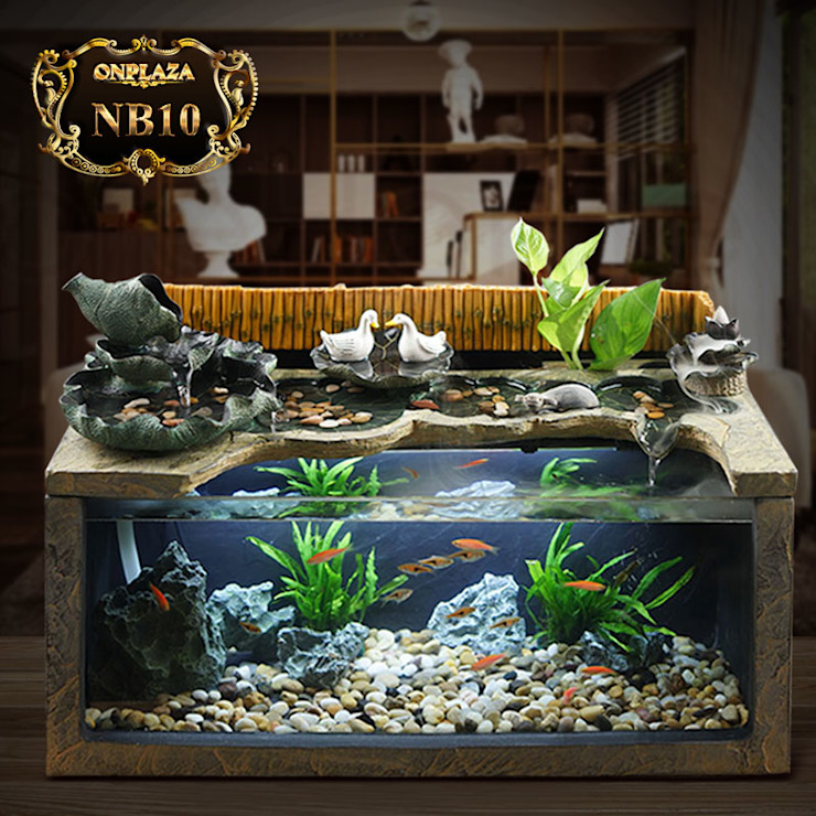 Tiểu Cảnh Mini nuôi Cá thủy sinh trang trí phòng khách: Quốc gia  by Công Ty Thi Công Và Thiết Kế Tiểu Cảnh Non Bộ, Đồng quê