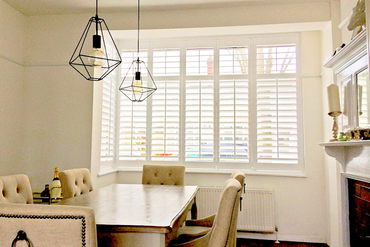 Full Height Shutters in the Dining Room Plantation Shutters Ltd Ruang Makan Modern Kayu White