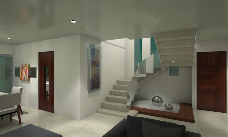 CouturierStudio Minimalist corridor, hallway & stairs