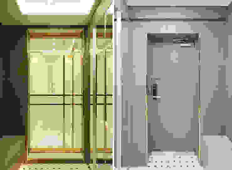 골드 컨셉, 인천 만수동 상가주택 인테리어 디자인 아버 에클레틱 복도, 현관 & 계단