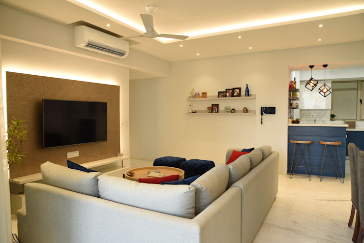 Apartment at Tata Primanti, Gurugram Modern living room by The Workroom Modern