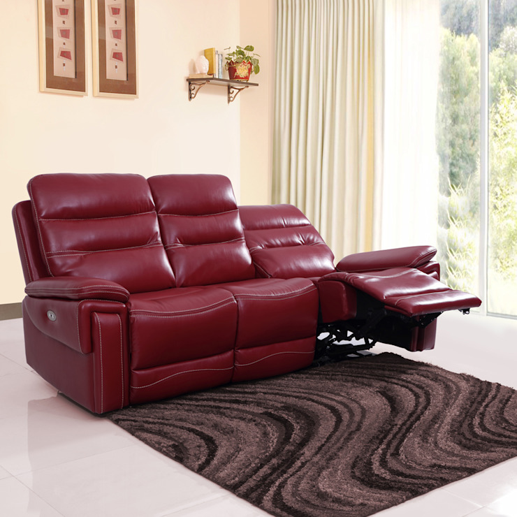 Adolf Leatherette Power Recliner Sofa 3 Seater-Red: modern  by Evok By Hindware, Modern Solid Wood Multicolored