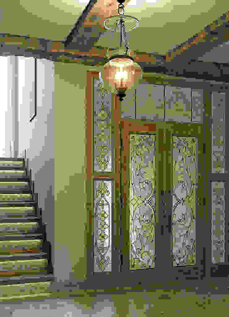 Pasillos, vestíbulos y escaleras mediterráneos de EJ Studio Mediterráneo