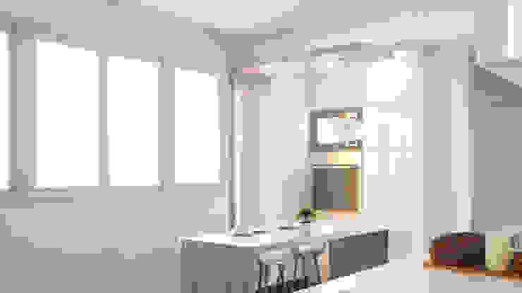 Remodelación Cocina en colores claros de Mauriola Arquitectos