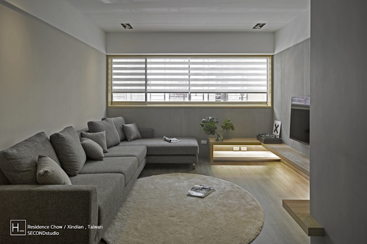 客 廳 / Living room Minimalist living room by SECONDstudio Minimalist Concrete
