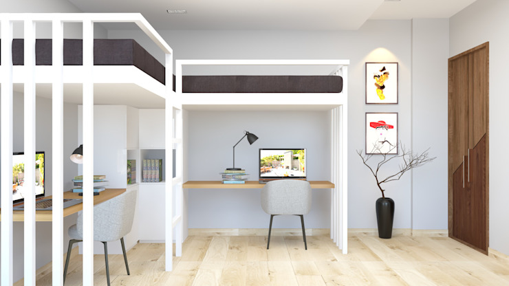 bunk bed with a study table below توسط Rhythm And Emphasis Design Studio