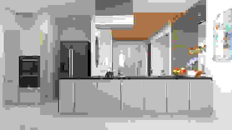 modern kitchen in neutral shades توسط Rhythm And Emphasis Design Studio