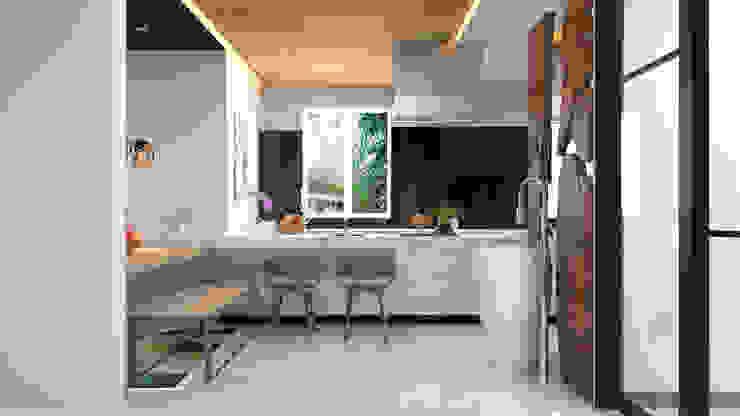 modern stand alone sink design and breakfast counter توسط Rhythm And Emphasis Design Studio