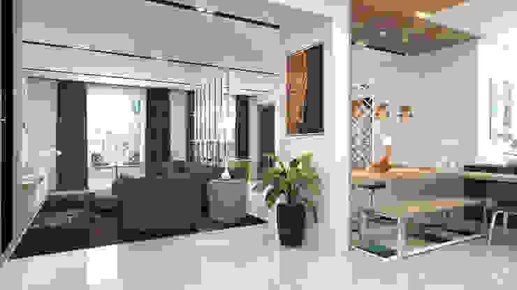 Living room with brown sofa توسط Rhythm And Emphasis Design Studio