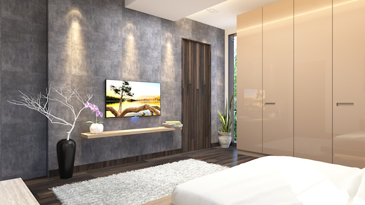 Ledge tv unit design in the bedroom توسط Rhythm And Emphasis Design Studio